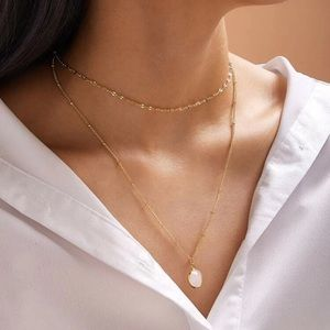 Double Layer Gold And Stone Necklace
